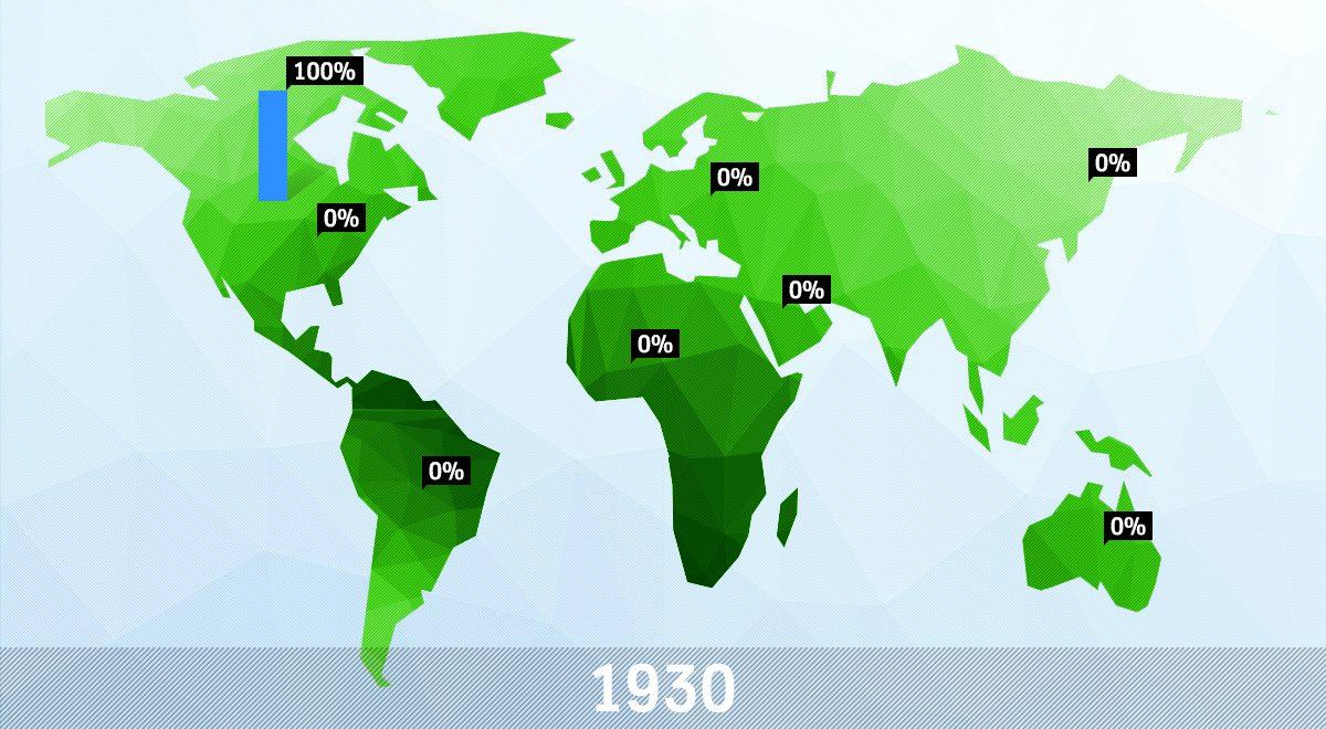 Weltkarte der Wolkenkratzer von 1930
