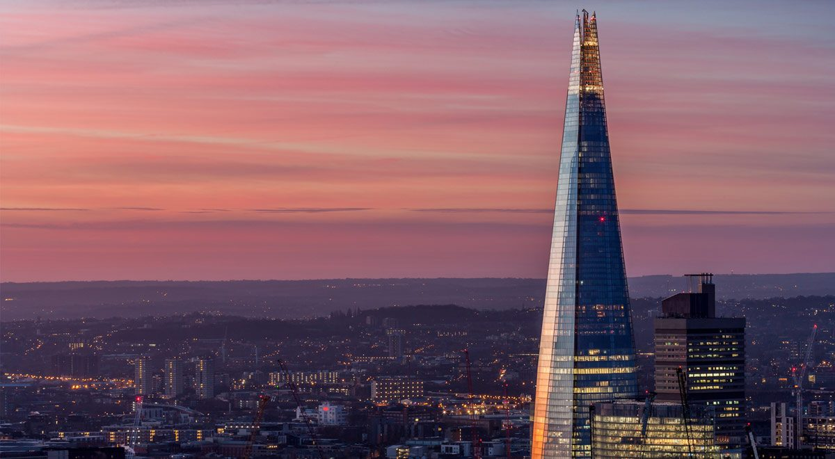 The Shard and Southeast London at sunrise.