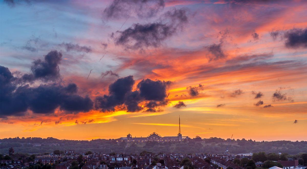 Sunset over Alexandra Palace.
