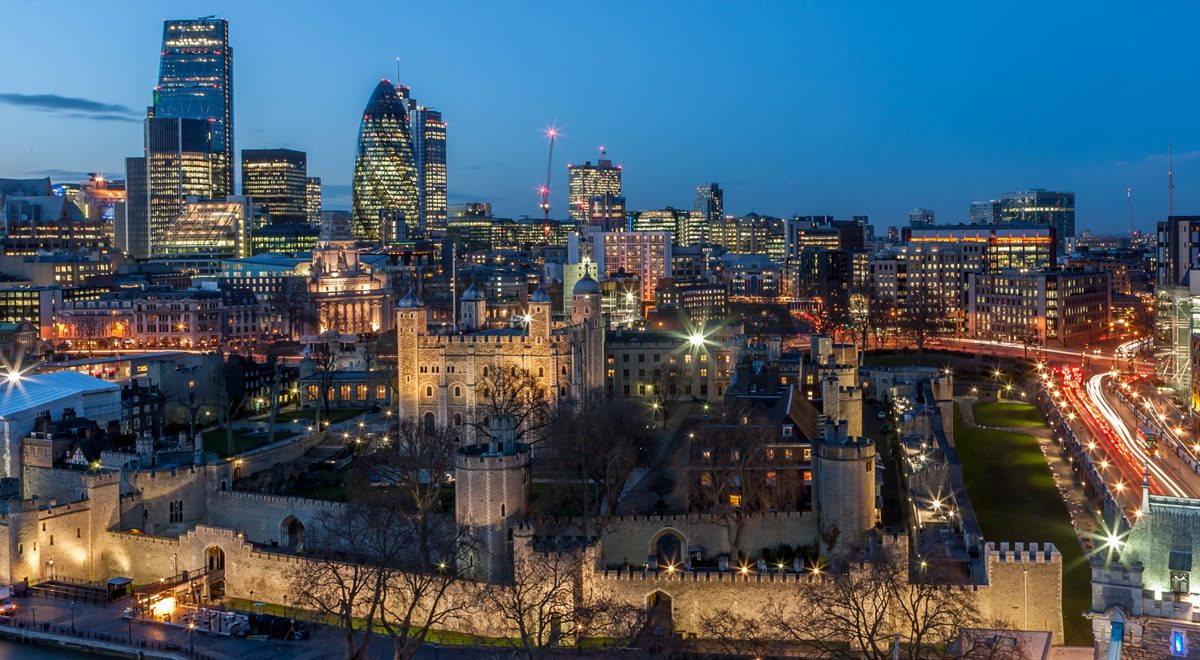 The Tower of London and the City of London.