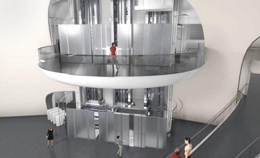 Mögliches Design für den Eingangsbereich eines MULTI-Aufzugsystems