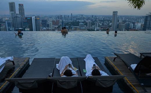 The pool on top of Marina Bay Sands Hotel