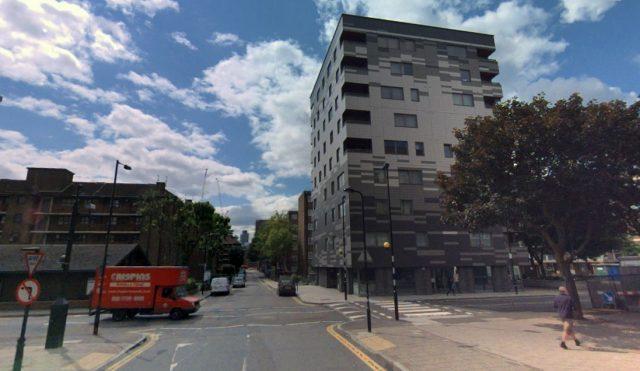"""""""Stadhaus"""" en Londres (Reino Unido), 9 pisos (8 de CLT, 1 de hormigón), finalizado en 2009."""