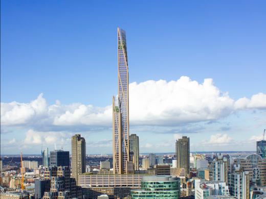 """PLP ha propuesto la """"Torre Oakwood"""", de 80 pisos, como el primer rascacielos de madera de Londres"""