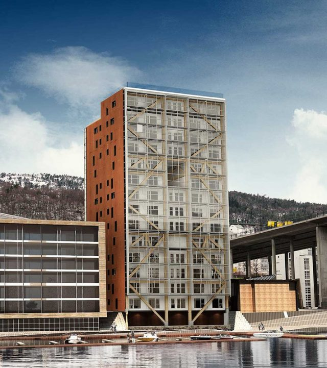 """""""Treet"""" in Bergen, Norway – 14 stories, CLT framework with glass curtain wall, elevator and stair cores made of CLT, expected completion in 2017. Photo Credit: http://www.woodskyscrapers.com/"""