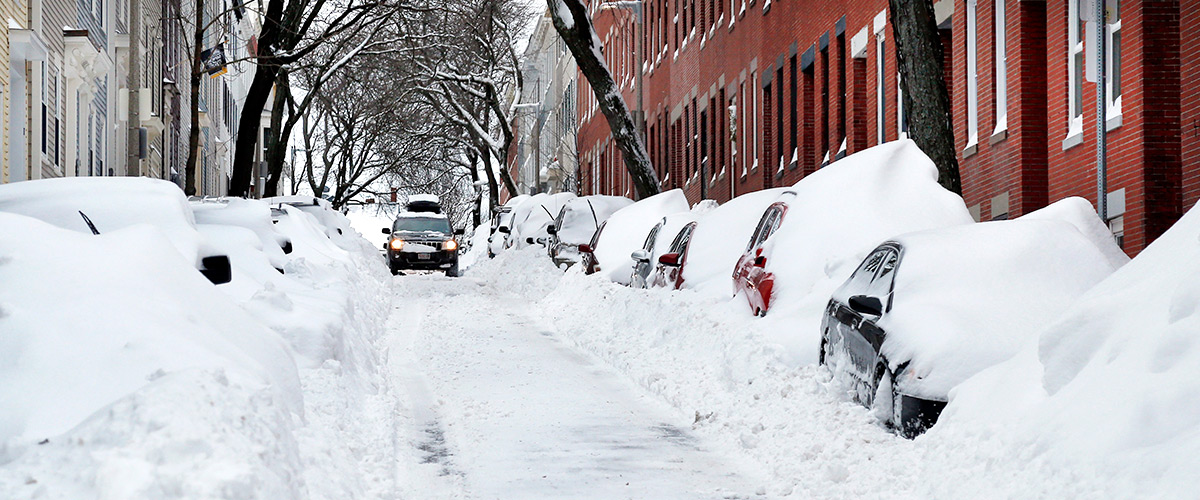 Finding a parking space can be difficult in winter.