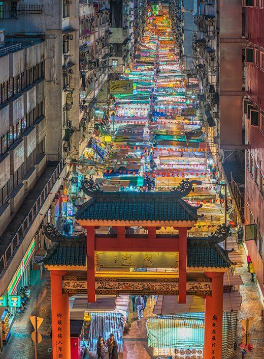 香港庙街无停放机动车的空间