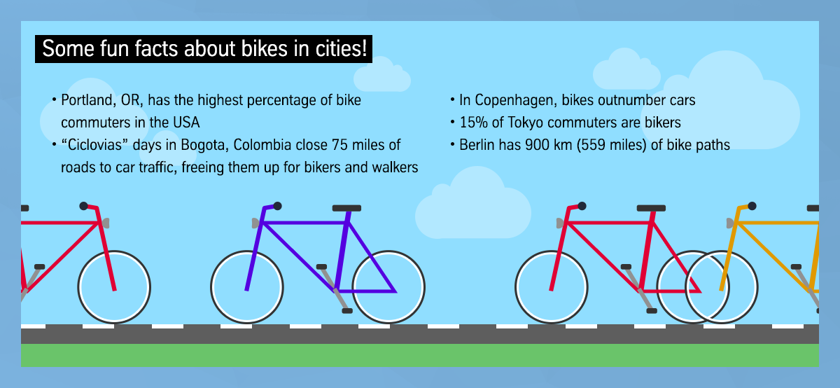 Some fun facts about bikes in cities!