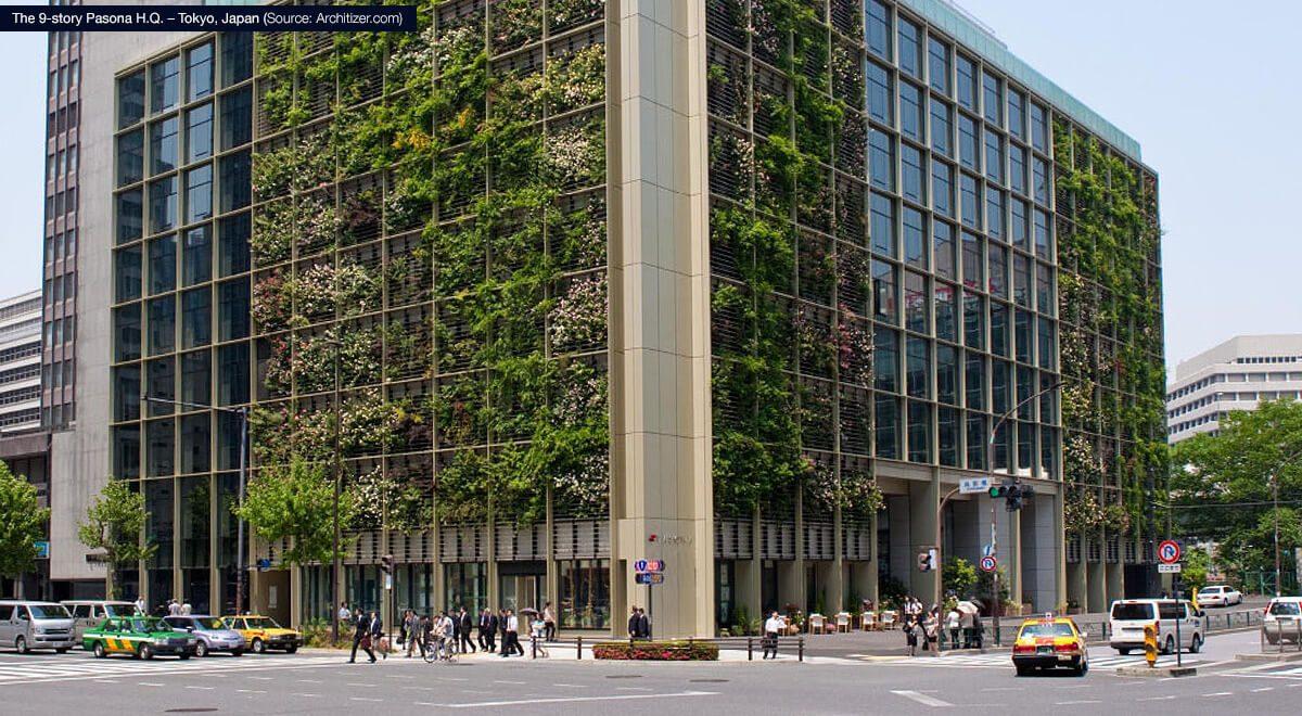 The 9-story Pasona H.Q. – Tokyo, Japan