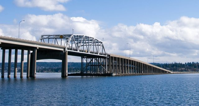 Evergreen Point Floating Bridge: the world's longest floating bridge in Seattle.