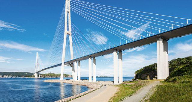 Rusky Bridge: the world's longest cable-stayed bridge in Vladivostok.
