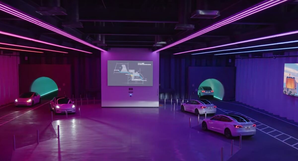 Tesla Underground Tunnel Automated Transportation System at Las Vegas Convention Center Loop